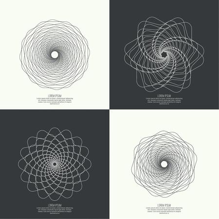geometria: Fondo abstracto con fractal, geometr�a, elemento de malla. Curvas de intersecci�n. Insignia, monograma, bandera