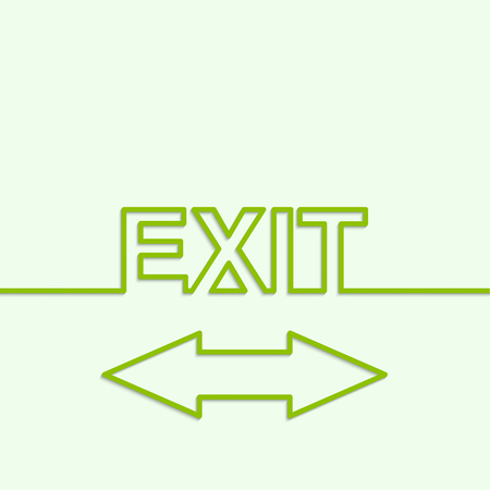 routes: Inscription exit with arrow direction. minimal, outline Illustration