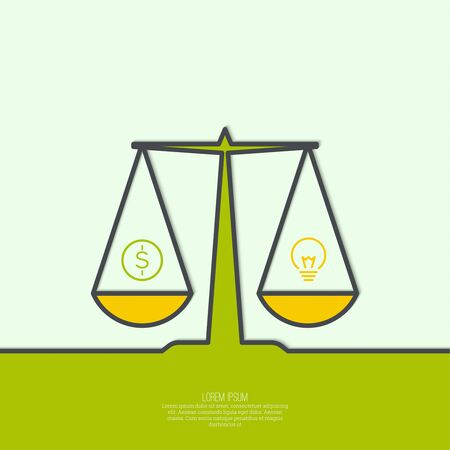 compare: Abstract background with a symbol of balance. Scales. Compare. Illustration