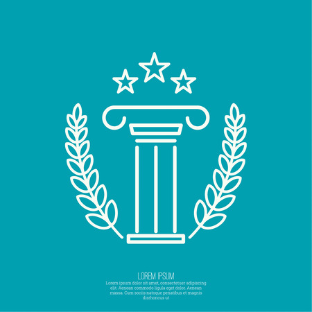 Antique column. Pedestal. The concept of stability and inviolability. simple design. The concept of the winner and the prize-winner. Three Star