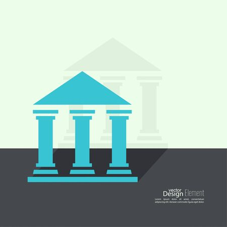 museum: Abstract background with ancient building with columns and roof.  Bank University Museum Icon. Flat design with shadow Illustration