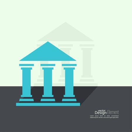 derecho romano: Fondo abstracto con el antiguo edificio con columnas y techo. Banco Universidad Icono Museo. Dise�o plano con la sombra Vectores