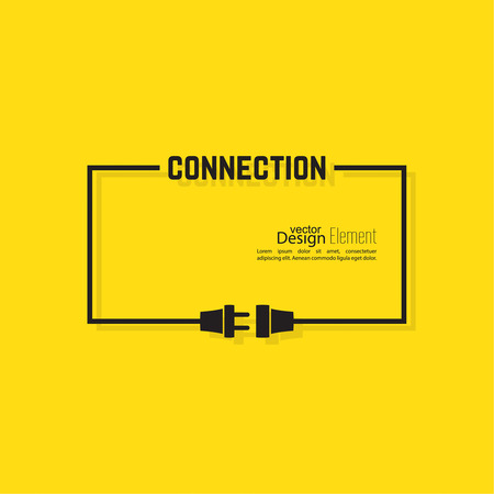 enchufe: Resumen de antecedentes con el enchufe del alambre y el zócalo. Concepto de conexión, conexión, desconexión, electricidad. Diseño plano. Amarillo, negro. Burbuja De Diálogo. Vectores
