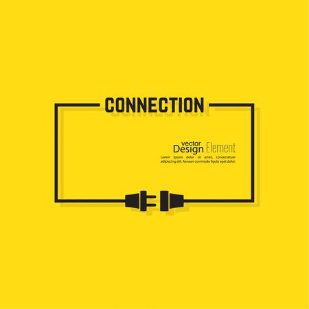 Zusammenfassung Hintergrund mit Draht-Stecker und Buchse. Konzept Verbindung, Verbindung, Trennung, Strom. Flache Bauweise. Gelb, schwarz. Sprechblase.