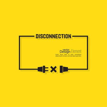disconnection: Abstract background with wire plug and socket. Concept connection, connection, disconnection, electricity. Flat design. Yellow, black. Speech Bubble.