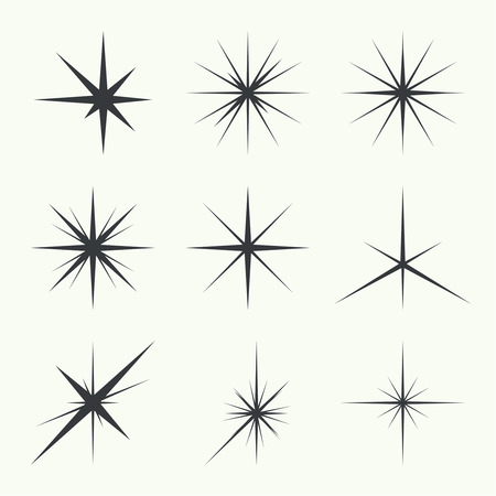 Vector set of sparkle lights stars. Stars with rays, explosion, fireworks. 矢量图像