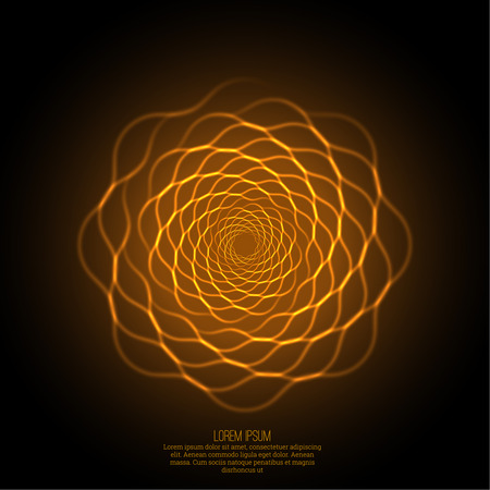 Abstract background with luminous fractal, geometry, mesh element. Intersection curves. Glowing mandala spiral. The energy flow Vettoriali