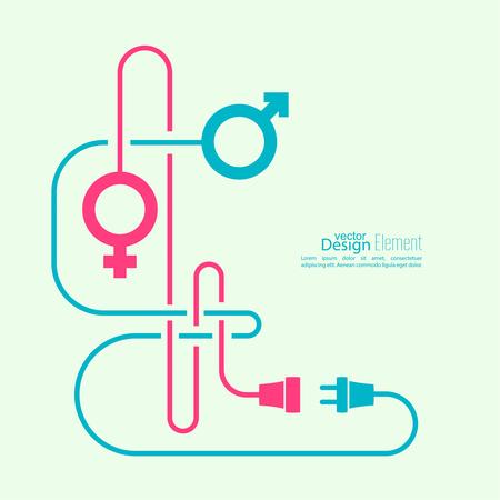 sexuales: Fondo abstracto con símbolos masculinos y femeninos y problemas alambres enredados. Las dificultades en la relación entre los sexos. Concepto de conexión, conexión, desconexión relaciones. Vectores