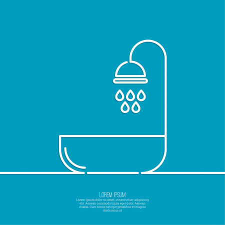 cleanliness: Shower handle with water drops. Symbol shower, cleanliness, hygiene. minimal. Outline.