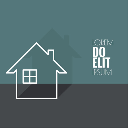 dwelling: The symbol of a dwelling house with window and chimney.  Icon of real estate. Sign for business card of  agency.  flat design. minimal. outline Illustration