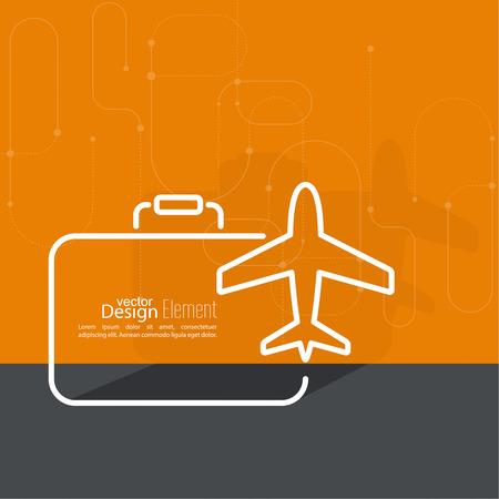 Aeroplano icono y la maleta. El concepto de viajes y vacaciones. Contorno. mínimo. Foto de archivo - 41717657