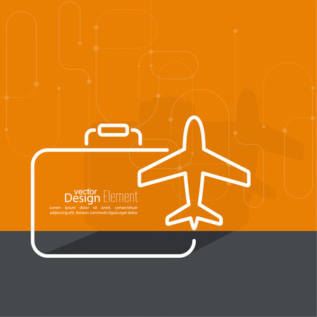 airplane travel: Icon airplane and suitcase. The concept of travel and vacation. Outline. minimal. Illustration