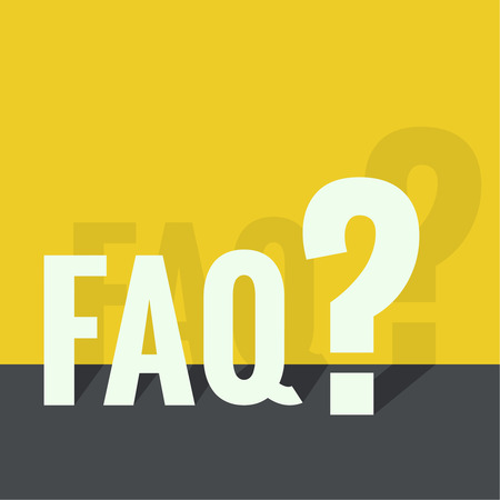 questionail: Question mark icon. Help symbol. FAQ sign on a yellow background. vector. Flat design with shadow