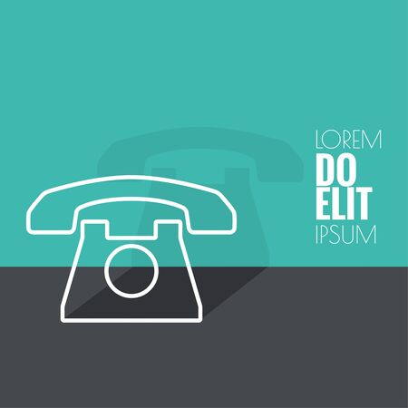 Abstract background with an old rotary telephone. Call technical support. Contacts. vector. Flat design with shadow. minimal, outline