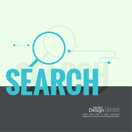 search bar: Search with a magnifying glass. The concept of Web surfing, optimization and search. Seo. Flat design with shadow