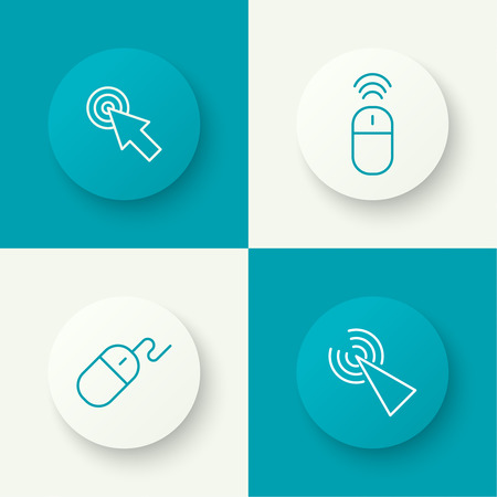 Set icon Computer mouse pointer to click. outline. button with shadow