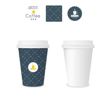 polystyrene: Closed paper cup for coffee with texture. Sample seamless pattern coffee badge. Mock up. dark blue cross