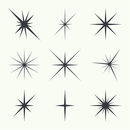 Vector set of sparkle lights stars. Stars with rays, explosion, fireworks. Çizim