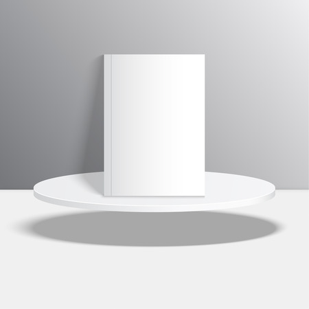 hovering: Empty blank oval hovering on the podium. Vector pedestal. Magazine, book, brochure, flyer, a4 letterhead, folder, leaflet, booklet.