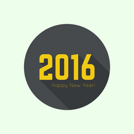 rime frost: creative happy new year 2016 design. Flat design. button
