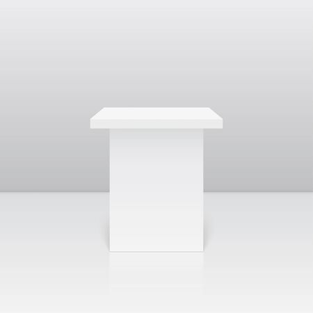 isolated on white: Pedestal for display. Platform for design. Realistic 3D empty podium Illustration