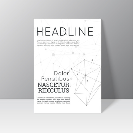 node: Vector brochure template design with polygonal shape, line, constellations, node. Flyer or booklet Layout.