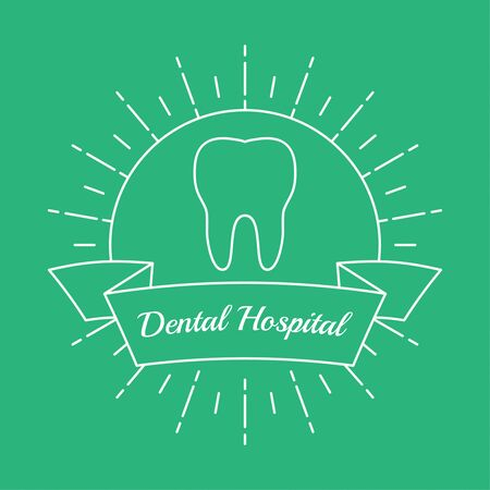 private hospital: Vintage hipster banners, insignias, radial sunbusrt with tooth. Dental clinic, hospital, private practice. Minimal design. Outline.