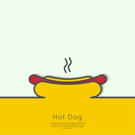 strip a dog: Hot Dog icon. Sausage grilled in a fresh bun. Outline with a strip of paper for text. minimal. Advertising for fast food