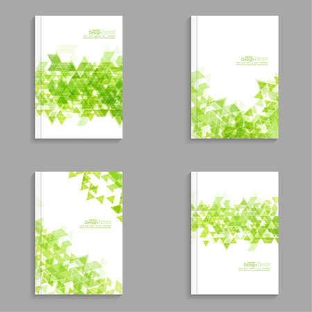 brochure background: Magazine Cover with  hipster  triangles. For book, brochure, flyer, poster, booklet, leaflet, cd cove, postcard, business card, annual report. abstract background.  green