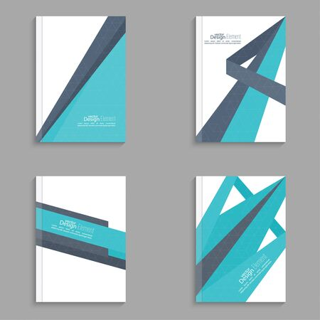 report card: Set Magazine Cover with origami intersecting ribbons. For book, brochure, flyer, poster, booklet, leaflet, cd cover, postcard, business card, annual report. vector illustration. abstract background