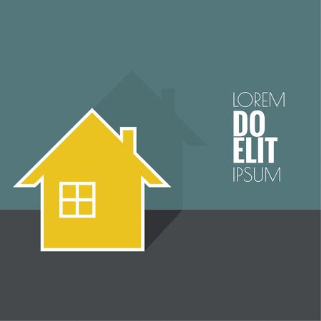 Maison avec l'ombre et espace pour le texte. Icône de l'immobilier. Inscrivez-vous pour la carte d'affaires de l'agence de courtier immobilier. design plat. minime.
