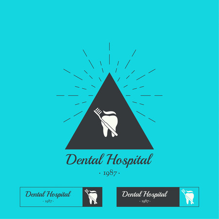private hospital: Set of Vintage hipster banners, insignias, radial sunbusrt with tooth. Dental clinic, hospital, private practice. Minimal design. Outline. Triangle hipster.