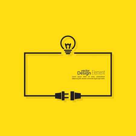 Resumen de antecedentes con el enchufe del alambre y el zócalo. Concepto conexión, conexión, desconexión, electricidad. Diseño plano. Incluyendo la idea. El proceso de pensamiento