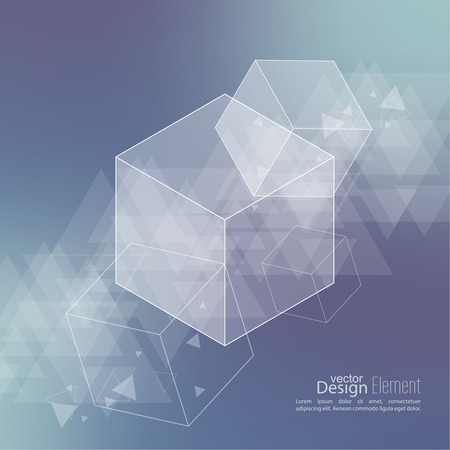 techno: Abstract neat Blurred Background with transparent cubes, hexagons carcass. Techno design of future, minimalism. technology, science and research. cyberspace cells. Data. triangle Illustration