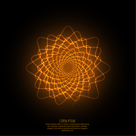 Abstract background with luminous fractal, geometry, mesh element. Intersection curves. Glowing mandala spiral. The energy flow Stock Illustratie