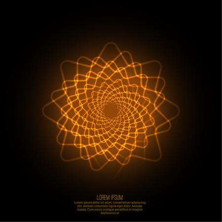 geometria: Fondo abstracto con fractal luminosa, geometr�a, elemento de malla. Curvas de intersecci�n. Glowing espiral mandala. El flujo de energ�a