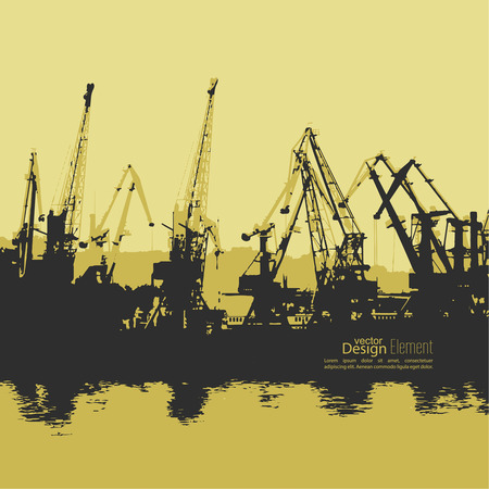 unloading: Loading, unloading in sea port for cargo industry design. Working crane. Silhouette. Abstract background. vector