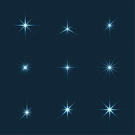 lucero: Vector conjunto de luces brillan las estrellas. Estrellas con rayos, explosiones, fuegos artificiales. Fondo oscuro