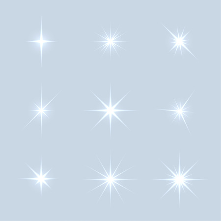 Vector set of sparkle lights stars. Stars with rays, explosion, fireworks. Light background Illusztráció