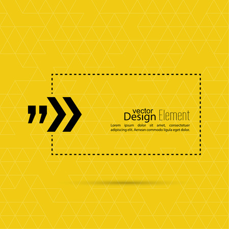 YELLOW: Vector abstract background with triangles.Quotation Mark Speech Bubble. Quote sign icon.