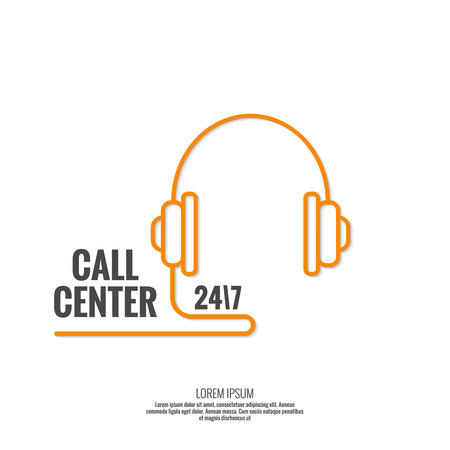 technical service: Abstract background with headphone. Icon. Call technical support. 24, 7. helpline, support service. Contacts. vector. Flat design. minimal, outline, pictogram