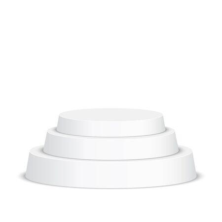 Round pedestal for display. Platform for design. Realistic 3D empty podium Illustration