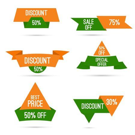 independencia: Establecer las etiquetas con las cintas y etiquetas. oferta especial, descuento y porcentajes, el precio. Colores nacionales India, blanco, verde, naranja. Descuentos para el Día de la Independencia y Día de la República de la India