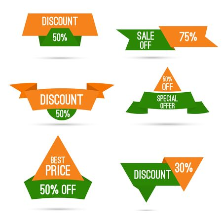 discount banner: Set tags with ribbons and labels. special offer, discount and percentages, price. India national colors, white, green, orange. Discounts for Independence Day and Republic Day of India Illustration