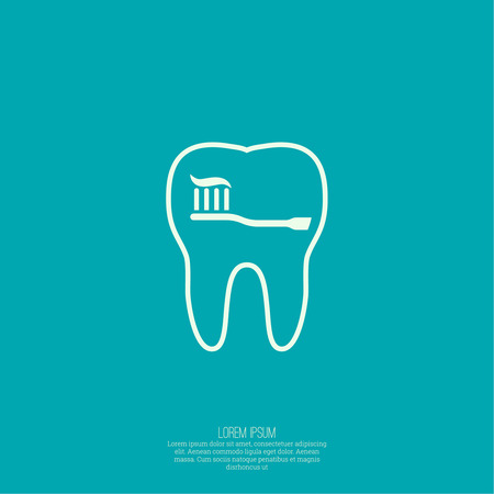 whitening: Background with tooth, toothbrush and toothpaste outline.  Symbol for dental clinic. Logo, emblem dentist. teeth Whitening