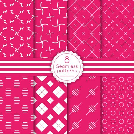 seamless pattern: Vector set seamless pattern with vintage old banner and ribbon. Repeating geometric shapes, diamond, cross, rhombus, diagonal dotted line, polka dot. minimalist, minimal, pink, red