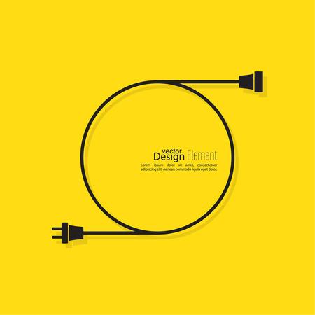 Abstracte achtergrond met draad stekker en stopcontact. Concept-verbinding, verbinding, scheiding, elektriciteit. Platte design. Geel, zwart. Spraak bubbel.