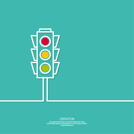light green: Abstract background with traffic lights. Red, green, yellow light. vector icons. Outline. minimal.