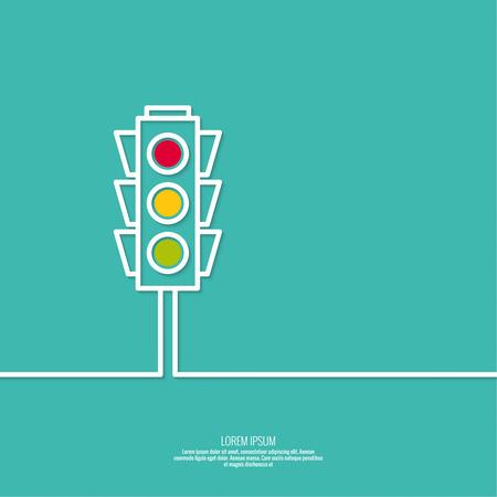 traffic signal: Fondo abstracto con semáforos. Rojo, amarillo claro verde. iconos vectoriales. Esquema. mínima. Vectores
