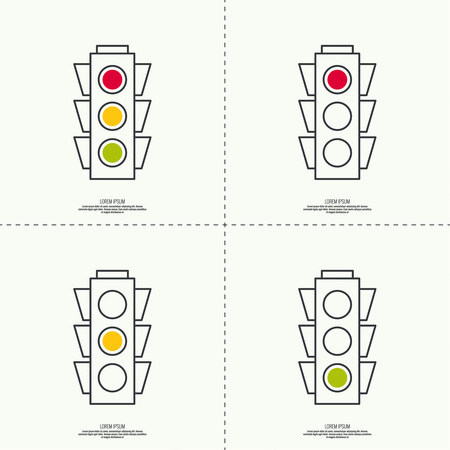 red light: Abstract background with traffic lights. Red, green, yellow light. vector icons. Outline. minimal.